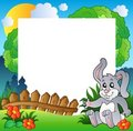 Easter frame with happy bunny Royalty Free Stock Images