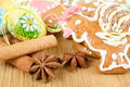Easter gingerbreads painted egg wooden background Royalty Free Stock Photos