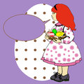 Easter girl with speech bubble carrying traditional basket eggs a purple Royalty Free Stock Photos