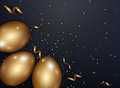 Easter gold eggs with confetti gold and dark metal texture place