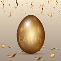 Easter gold eggs with confetti ,ribbon gold abstract background.