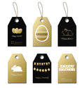 Easter gold vector gift tags with bunny and eggs Royalty Free Stock Photo
