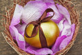 Easter golden egg with brown ribbon in a nest. Royalty Free Stock Photography