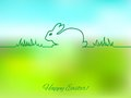 Easter greeting card with bunny on a blurred background Royalty Free Stock Photo