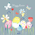 Easter greeting card with a chicken Stock Images