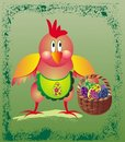 Easter greeting card with chicken Stock Photography
