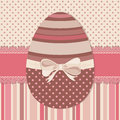 Easter greeting card with chocolate egg colorful bow on dotted and striped background vector illustration Royalty Free Stock Image