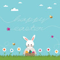 Easter greeting card decoration flowers rabbit message Stock Photos