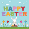 Easter greeting card decoration flowers rabbit message Stock Photo