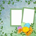 Easter greeting card with decorative egg Stock Photos