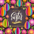 Easter greeting card - greeting with glitter gold ribbon and  paper flowers and eggs background.