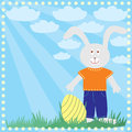 Easter greeting card with rabbit Stock Image