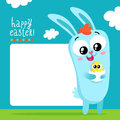 Easter greeting card template with bunny holding egg Royalty Free Stock Photo