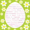 Easter greeting card with text in various languages paschal Royalty Free Stock Images