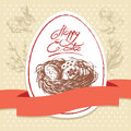 Easter greeting card vintage background hand drawn illustration Royalty Free Stock Photo