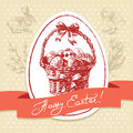 Easter greeting card vintage background hand drawn illustration Royalty Free Stock Photography