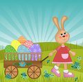 Easter greetings card with rabbit Royalty Free Stock Photo