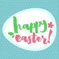 Easter Greetings Typographical Egg Shape Greeting Card. Hand Lettering, Calligraphy Polka Dot Vector Illustration