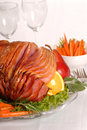 Easter ham with fruit and carrots Stock Photography