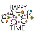 Easter headline happy funny with beads and flowers Stock Photos