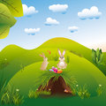 Easter holiday landspace hares in the wonderland Stock Photos