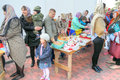 Easter holiday sanctification moscow russia may parishioners prepare cakes and eggs for blessing on the eve of the Royalty Free Stock Photo