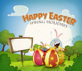 Easter holidays background illustration of a cartoon happy in spring or summer season with happy rabbits and bunnies bringing Royalty Free Stock Photography
