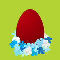 Easter holidays card painted egg flowers Royalty Free Stock Images