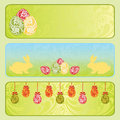 Easter horizontal banner set. Royalty Free Stock Photos