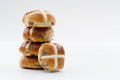 Easter hot cross buns a stack of holiday on an white background Royalty Free Stock Image