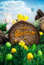 Easter hunt flyer or poster. Royalty Free Stock Photo