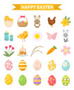 Easter icon set, flat style. Isolated on white background. Vector illustration.
