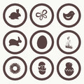 Easter icon symbol collection grouped for easy editing illustration Royalty Free Stock Photography