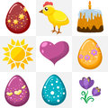 Easter icons in a flat style