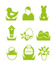 Easter icons set monochrome vector spring Royalty Free Stock Photo