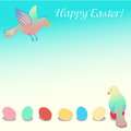 Easter illustration with birds and eggs Stock Images