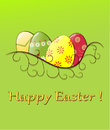 Easter illustration with decorated eggs in nest Royalty Free Stock Image