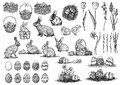 Easter illustration, drawing, engraving, set collection
