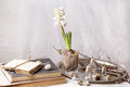 Easter interior with flower and old books Stock Photos