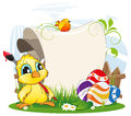 Easter invitation cartoon chicken with paintbrush and eggs on spring meadow Royalty Free Stock Photography