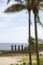 Easter island with palmtrees and statues Stock Image