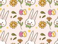 Easter kawaii background with rabbit, egg and flower