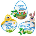 Easter label set with cartoon characters bunny chicken and eggs Royalty Free Stock Photo