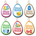 Easter label set with different egg symbols Stock Image