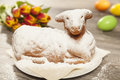 Easter lamb and tulips Royalty Free Stock Photo
