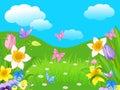 Easter landscape illustration of and flowers Stock Image