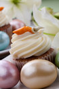 Easter Lily and Carrot Cake Muffins Stock Images