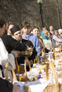 Easter in moscow april ceremony on church yard consecration of cakes and eggs Stock Photo