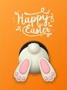 Easter motive, bunny bottom on orange background, illustration