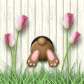 Easter motive, bunny bottom, pink tulips and fresh grass on white wooden background, illustration